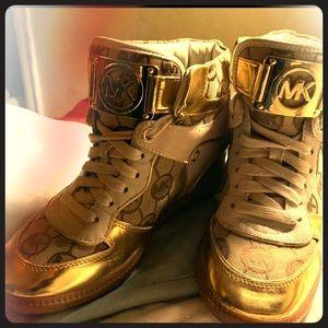 Gold Michael Kors Signature MK Wedge Sneaker 6 1/2